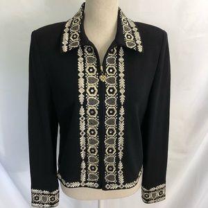 St. John Evening Embroidered Santana Knit Jacket 8